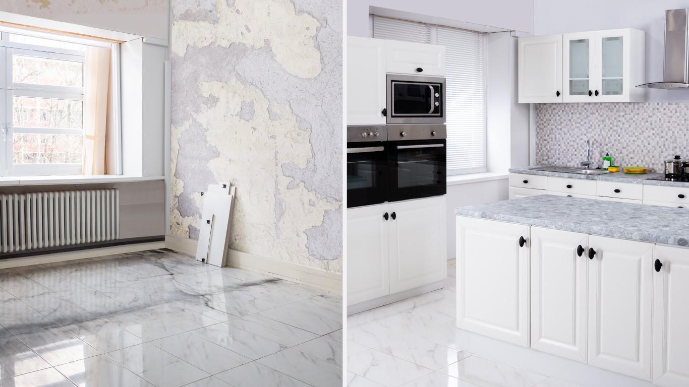 Avant et après rénovation de cuisine